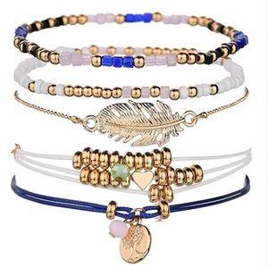 Leaf/Heart/Bead/Tree of Life Bracelets 5-Piece Set